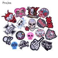 Prajna Skeleton Slipknot Unicorn Bitches Embroidered Patch Clothes Stickers Iron On Punk Biker Motorcycle Patches For Jacket