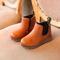 Kids Shoes Boys Boots New Autumn Winter Solid Gentleman Fashion Martin Boys Shoes Kids