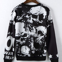 Harajuku style 3D retro personality and winter clothes men and women of European and American Graffiti skull space cotton sweate