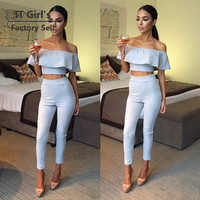 Graceful Slash Neck Ruffles 2016 Autumn Overalls Light Blue Women Romper Sexy Club Bodycon Jumpsuit Fitness Combinaison Femme