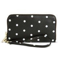 Women's Polka Dot Print Cell Phone Case Zipper Wallet - Black