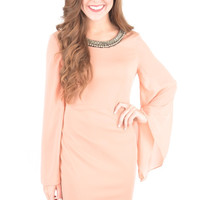 Blush Dress with Embellished Neckline and Bell Sleeves