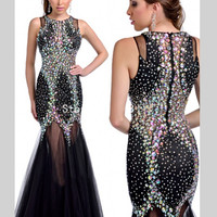 Sexy Tulle Heavy Beaded Long Black Mermaid Prom Dresses 2016 Rhinestone ballkleider galajurken gala jurken