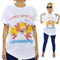 Vintage 80s The Simpsons Homer Simpson All-American Dad 50/50 T Shirt Sz L