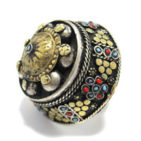 FREE SHIPPING Vintage Kuchi Tribal Round Moon Eclipse Dome Black Ring,Turkmen Afghan Ethnic Jewelry,Antique,Medieval,Gilt Silver,Handmade