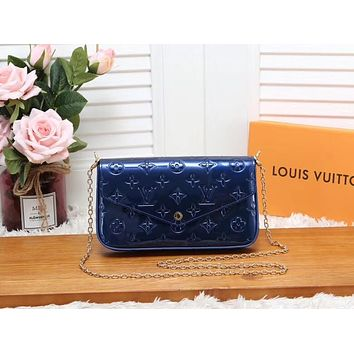 LV Louis Vuitton Women Shopping Leather Metal Chain Crossbody Satchel Shoulder Bag A three-piece