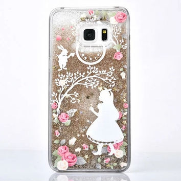 Gold Glitter Alice and White Rabbit Case for Galaxy Note for Samsung Note 5