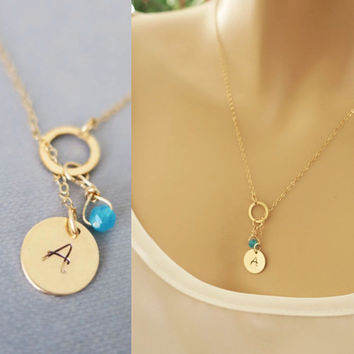 Gold Lariat Necklace, Initial Monogram Circle Birthstone Charm, 14k Gold Filled or Sterling Silver, Bridesmaids Necklace, just1gold