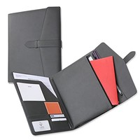 Tri-Fold Portfolio With Secret Zipperd Pouch for Tablet PC or iPad or Kindle, Document Organizer Including Letter sized Writing Pad, Padfolio with Neat Strap Closure Classic Design Soft Gray Color