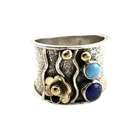 Lapis & Turquoise Sterling Silver Floral Band Ring