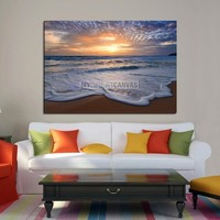 Large Wall Art Canvas Sparkling Small Waves on Beach with Sunset