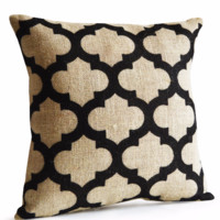 Trellis Burlap Pillow Cushion Cover Decorative Throw Pillow Geometric Ivory Black Burlap Jute Modern Rustic Decor Gift Anniversary Dorm