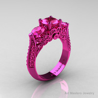 Classic 14K Pink Gold Three Stone Pink Sapphire by artmasters