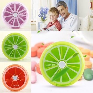 2016 Health Care Medicine Pill Box Fruit Shaped Sort Vitamin 7 Day Weekly Holder Tablet Storage Container Cases Travel Round