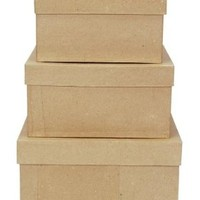 Darice 2849-06 Paper Mache Boxes for Craftwork, 8, 9 and 10-Inch, Set of 3