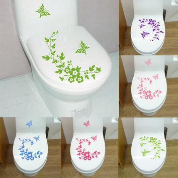 New Butterfly Flower bathroom wall stickers home decor home decoration wall decals for toilet decal sticker decor on the wall