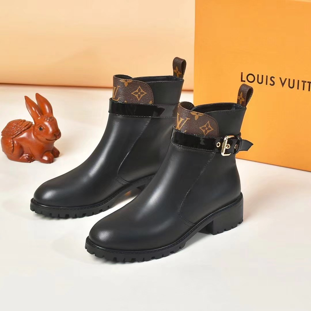 Image of lv louis vuitton trending womens black leather side zip lace up ankle boots shoes high boots 264