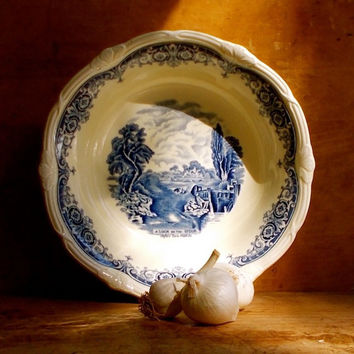 Vintage Blue Transferware Serving Bowl, Grindley, England, Blue and White, Transfer Ware