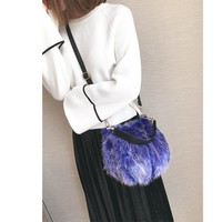 Women's Soft Fur Messenger Cross Body Shoulder Bucket Bag
