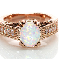 2CT Oval White Fire Lab Created Opal Rose or White Gold Plated Vintage Style Engagement Ring