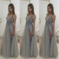 Robe De Soiree Sexy Deep V Neck See Through Long Party Dress With Slit A Line Elegant Most Popular Formal Evening Gowns Dresses