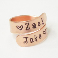Mommy ring with children's names couple ring stamped copper boyfriend ring girlfriend ring relationship ring promise ring