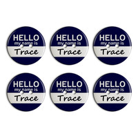 Trace Hello My Name Is Plastic Resin Button Set of 6