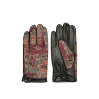 LEATHER AND ETHNIC FABRIC COMBINATION GLOVE