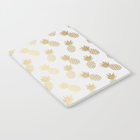 Gold Pineapple Pattern Notebook by Tanyadraws