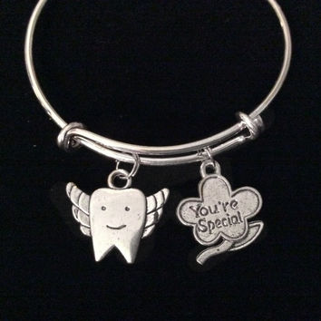 Children's Your Special Tooth Fairy Expandable Charm Bracelet Gift Kids Size Silver Tooth Bangle