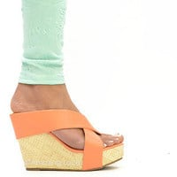 Platform Wedge Sandals Coral Peach Faux Leather Strappy Pretty Summer Fashion