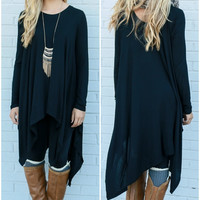 Mountain Breeze Black Trapeze Tunic with Handkerchief Hem