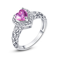 Created Romantic Jewelry Women Heart Cut Pink Topaz with AAA White CZ 14K White Gold Plated Ring Wedding