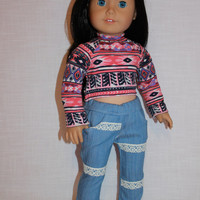 18 inch doll clothes, geometric print crop top, blue skinny jeans with lace trim, american girl ,maplelea