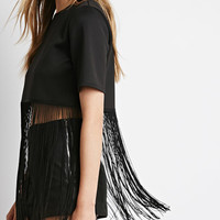 Fringed Scuba Knit Top