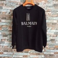 Balmain Unisex Simple Fashion Letter Print Long Sleeve Sweater Couple Loose Casual Pullover Tops
