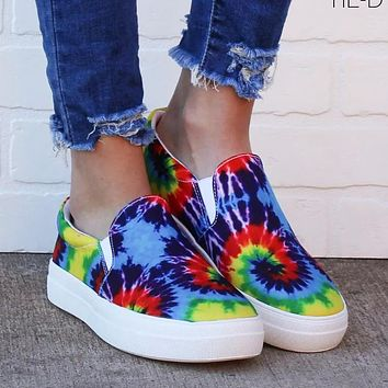 Casual single shoes tie-dye round hand-painted color round toe flat-bottomed loafers sneakers