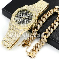 Hip Hop Iced Raonhazae Lab Diamond Drake Watch and 15mm Cuban Link Bracelet Set