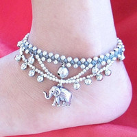 Gypsy Elephant Silver Plated Cascade Anklet