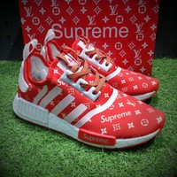 Best Online Sale Louis Vuitton LV x Supreme x Adidas NMD R1 Boost Men R_1 Red White Sport Running Shoes