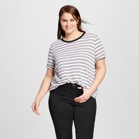 Women's Plus Size Rib Trim Elbow Sleeve T-Shirt - Who What Wear ™