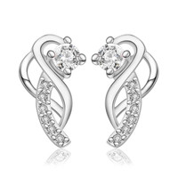 Gorgeous silver plated earings jewelry Moon hook white gem stud orecchini Hand Madeball  23