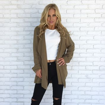 Roll Up Cardigan in Olive
