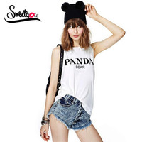 New Elastic Sleeveless O Neck Summer T Shirt Women Tops Letters Printed Punk Casual White T-Shirt Blusas Plus Size