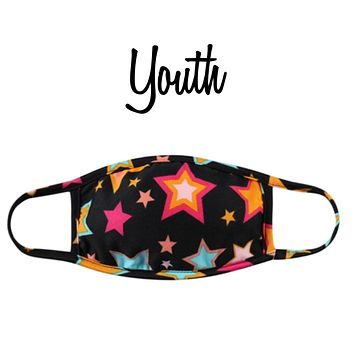 Youth Solid Black Stars Face Mask with Filter Pocket - Covid 19