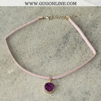 Circle Druzy Choker Necklace in Maroon