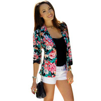 Casual Women One Button Jacket Slim Casual Business Blazer Suit Floral Coat Outwear