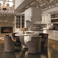 Lacquered walnut fitted kitchen with island CONVIVIO Classic Kitchen Collection by Martini Mobili