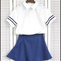 Aliexpress.com : Buy S 2XL Summer Lolita White Sailor dress Chiffon Blouse/shirt+washed denim skir t Cute Japanese&Korea Collage Uniform lovely dress from Reliable dress skirt suppliers on PRO-G DEAL | Alibaba Group