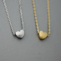 Tiny Brushed Heart  Necklace  -  Available color as listed ( Gold, Silver )